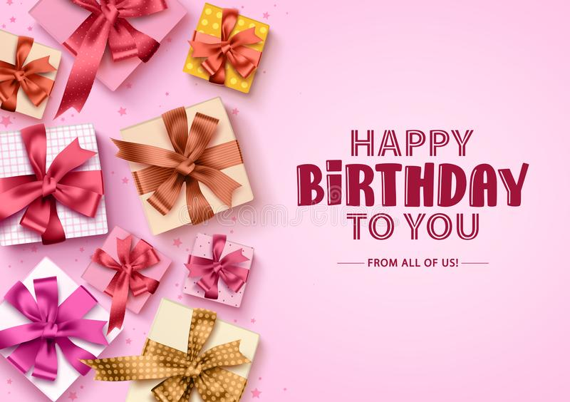 Happy birthday gift boxes background. Birthday greeting card with colorful boxes of gifts. And ribbons for party and celebration in pink background. Vector vector illustration