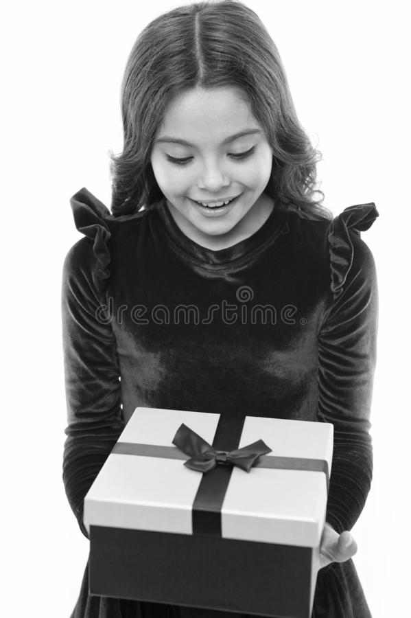 Happy birthday gift. Little girl with present box. small girl after shopping. big sale in shopping mall. Boxing day. Easy and fast. Perfect day. Incredible royalty free stock image