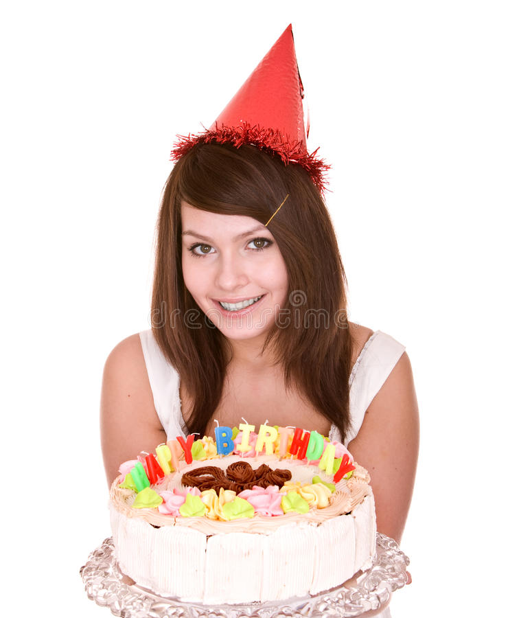 Happy birthday girl with cake. Isolated stock images