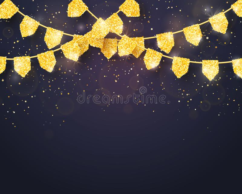 Happy Birthday - Glitter Gold Party Flags Background stock illustration