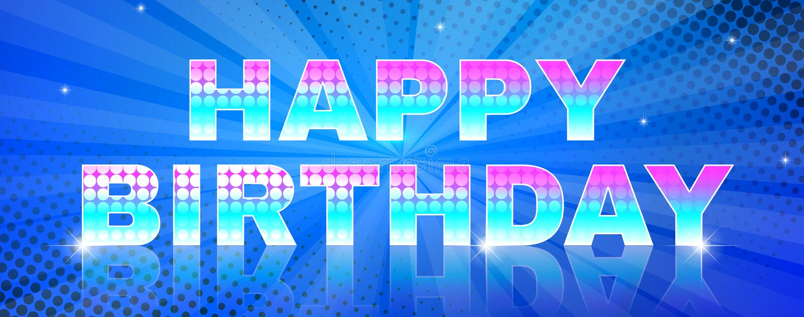 Bright birthday event greeting banner. Happy birthday glowing text on blue background with beams.. Greeting card or banner. Used a clipping mask stock illustration
