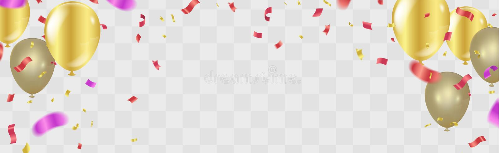 Happy birthday Gold confetti Celebration background vector illus royalty free illustration
