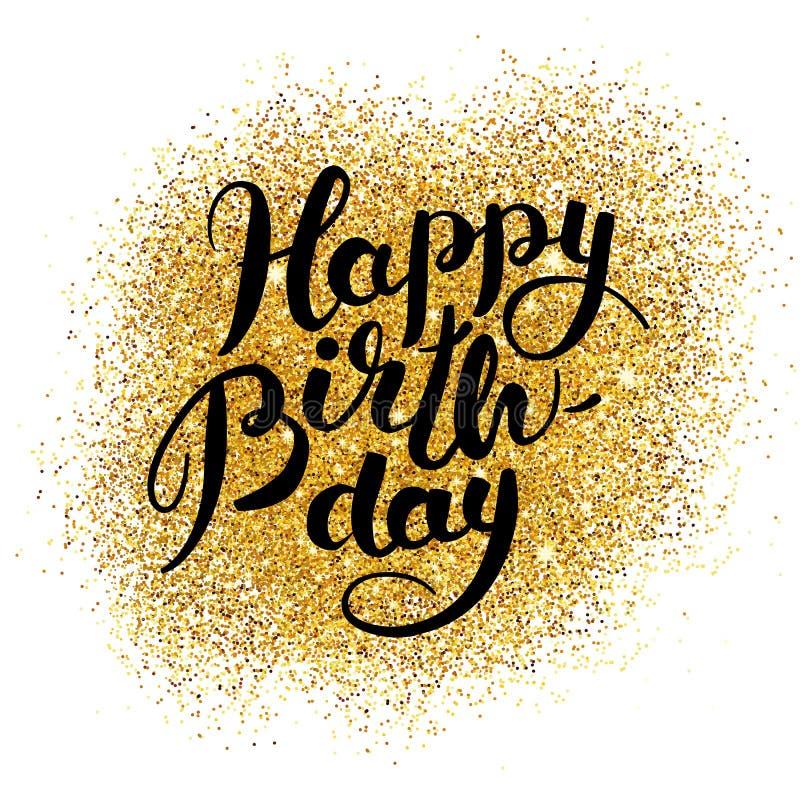 Happy birthday gold sparkles stock vector illustration