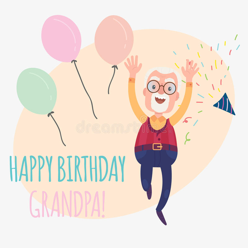 Happy birthday grandfather stock illustration