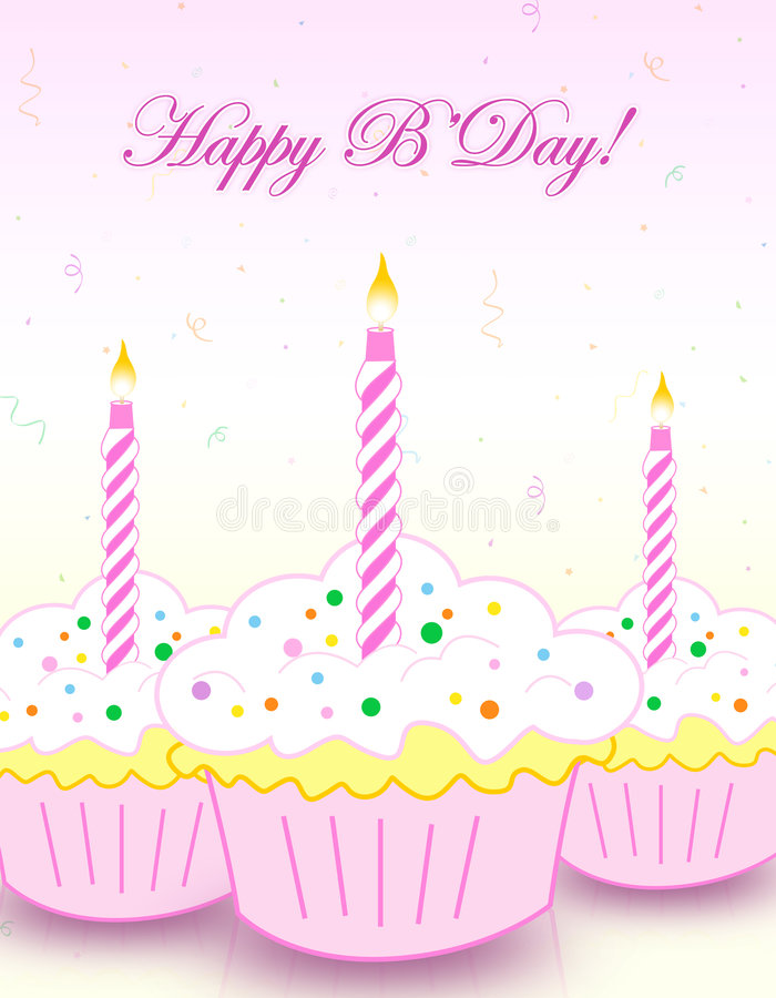 Happy birthday greeting. Colorful decorated birthday cup cakes with happy birthday letters. illustration for birthday greeting cards royalty free illustration