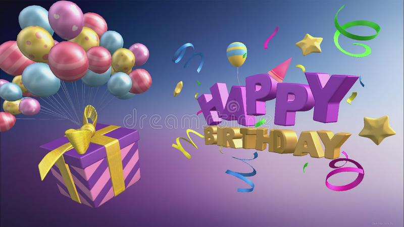 Happy birthday greeting with balloons and gifts in 3d format royalty free illustration