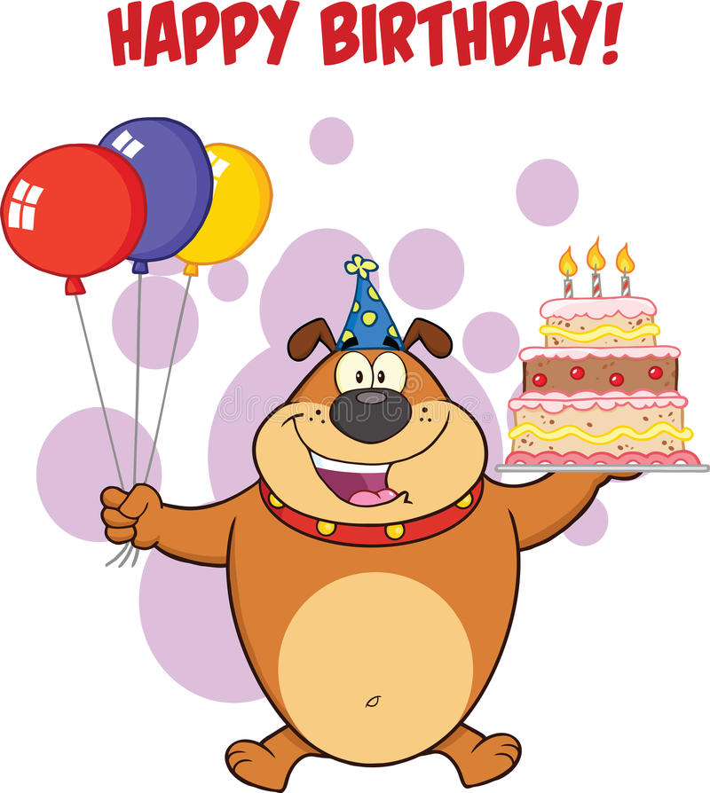 Happy Birthday Greeting With Brown Bulldog Holding Up A Birthday Cake With Candles. Illustration Of Happy Birthday Greeting With Brown Bulldog Holding Up A royalty free illustration