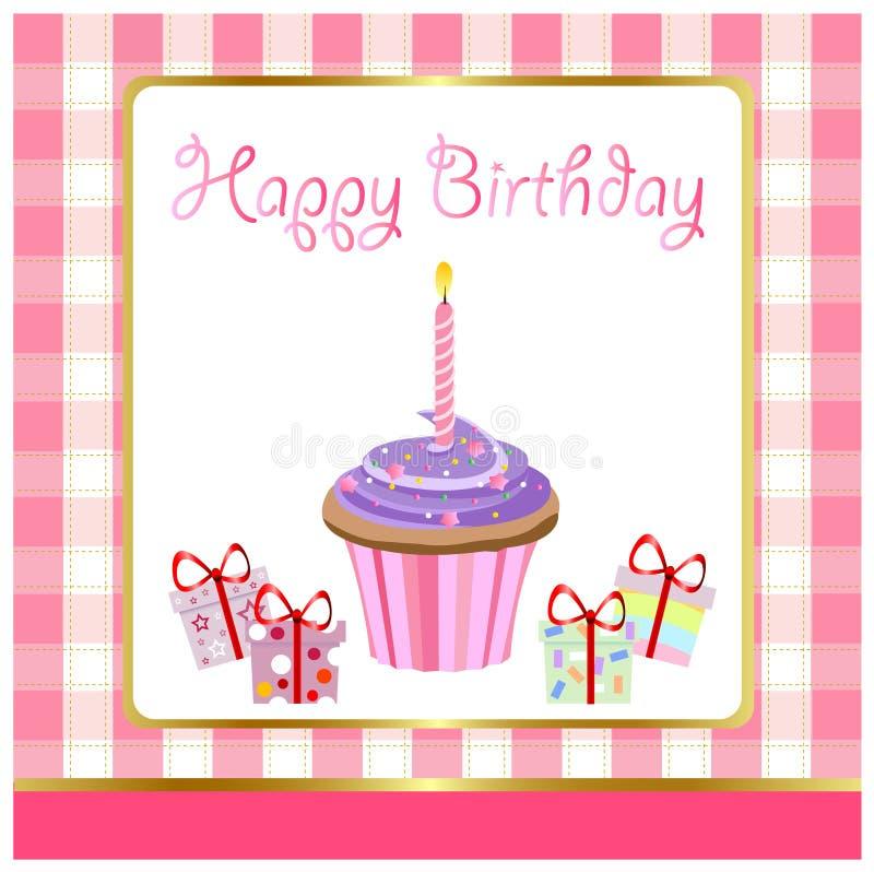 Happy birthday, greeting card. And illustration royalty free illustration