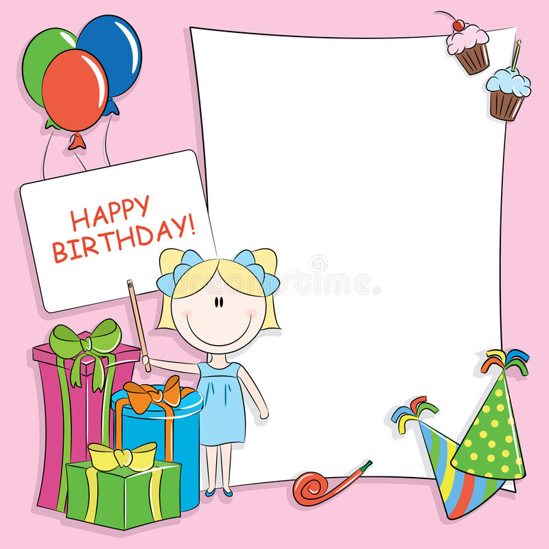 Happy birthday greeting card. With blank place for your wishes and message royalty free illustration