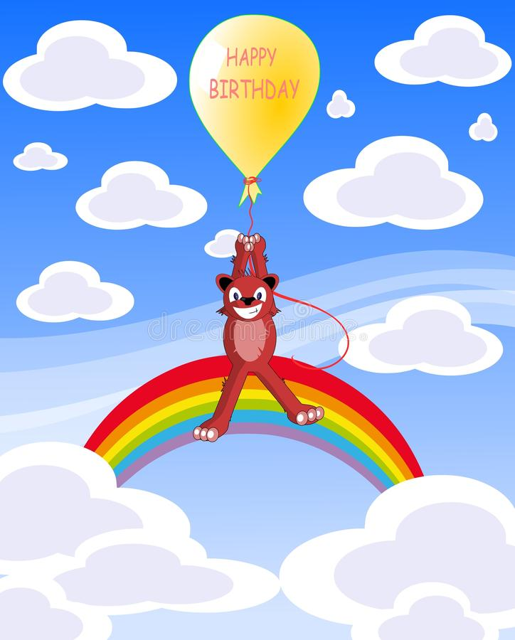 Happy birthday greeting card with bear and balloon royalty free stock photo