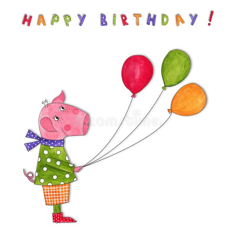 Download Happy Birthday. Greeting Card Stock Illustration - Illustration: 23852872