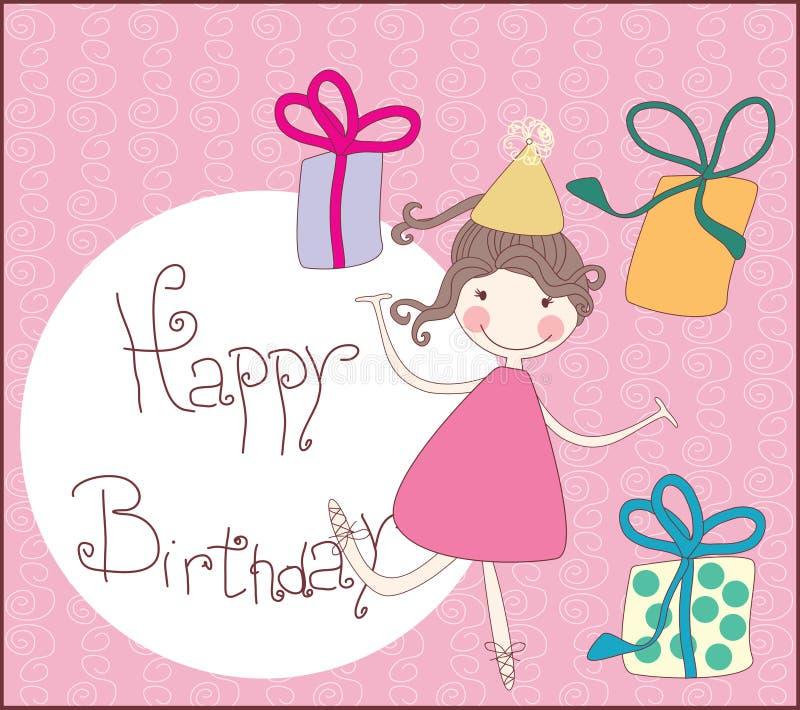 Happy birthday greeting card. Vector illustration of birthday greeting card royalty free illustration