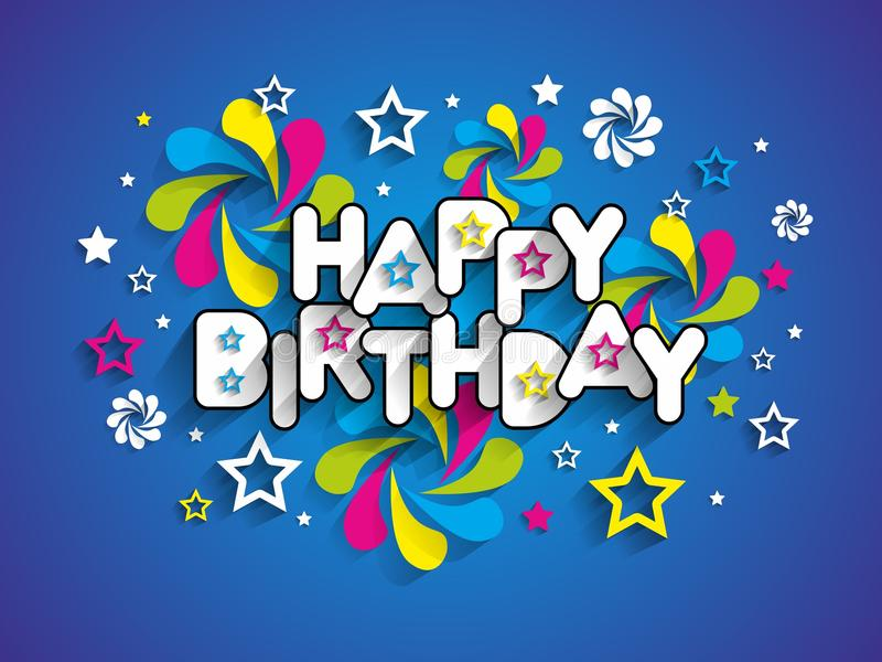 Happy Birthday Greeting Card. On Background vector Illustration royalty free illustration