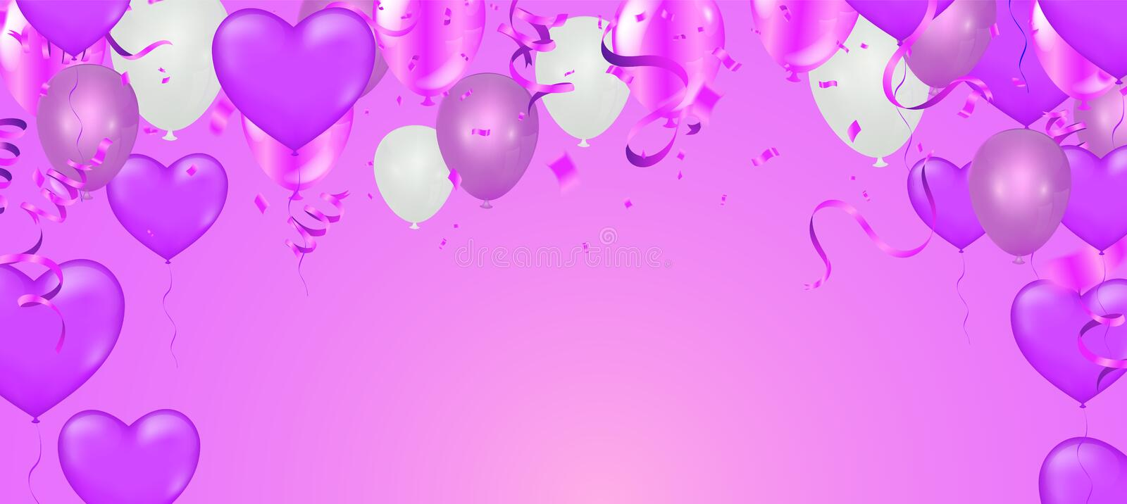 Happy Birthday Greeting Card with balloons on abstract background with light effect. Eps.10 vector illustration