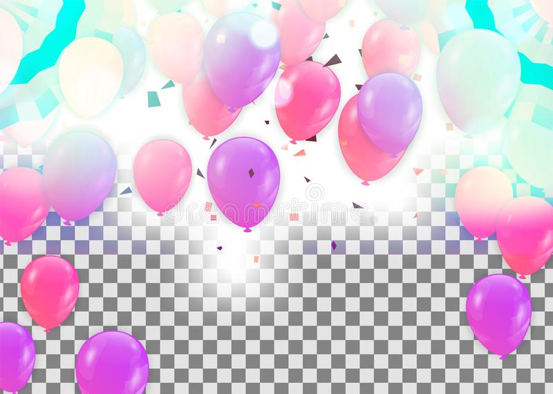 Happy Birthday Greeting Card with balloons on abstract background with light effect. Eps stock illustration