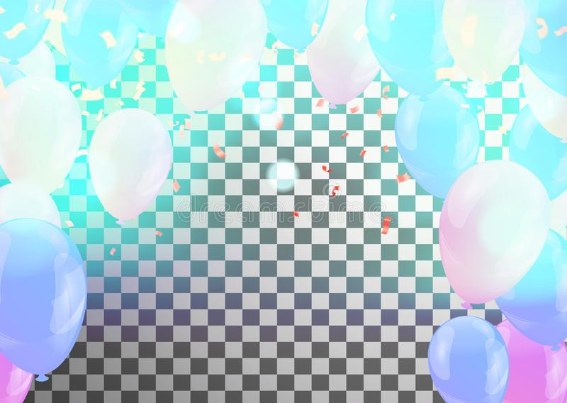 Happy Birthday Greeting Card with balloons on abstract background with light effect. Eps vector illustration