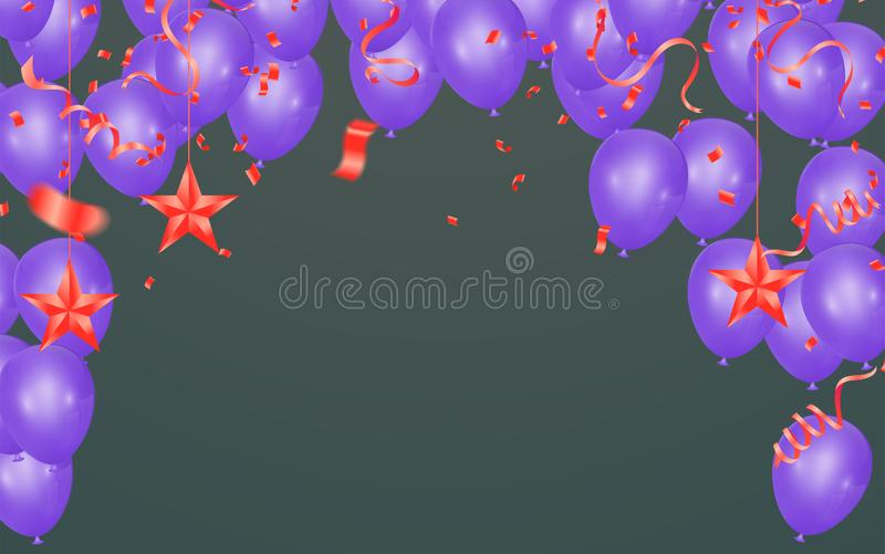 Happy Birthday Greeting Card with balloons on abstract background with light effect. Eps.10 stock illustration