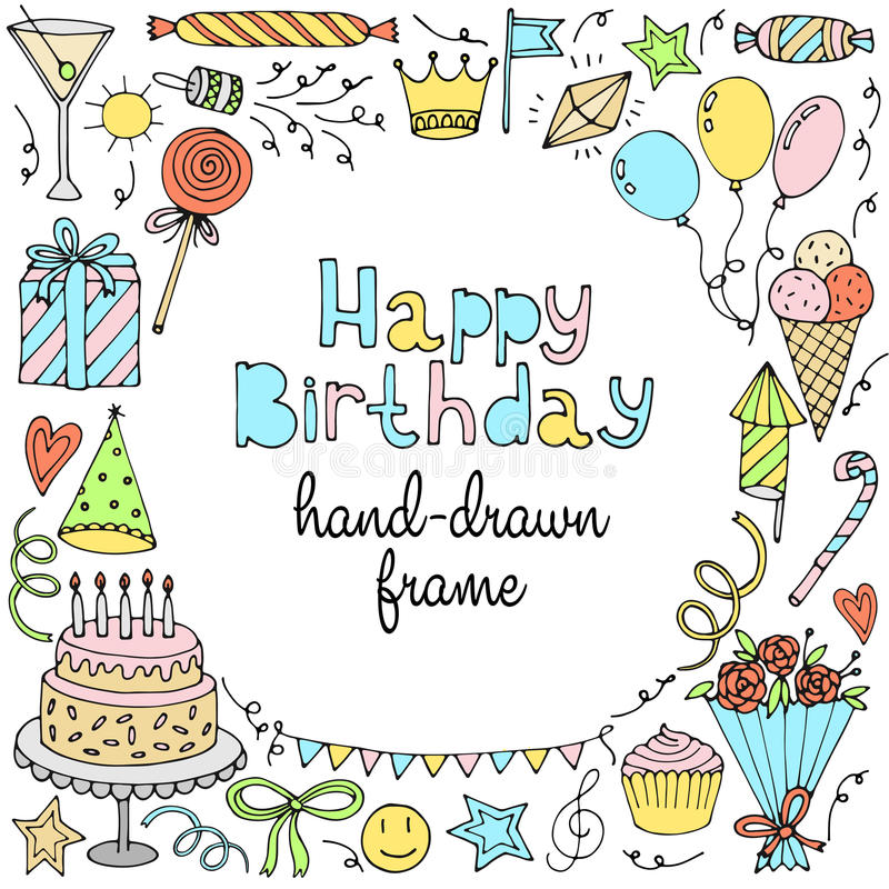 Happy birthday greeting card. Banner, frame with text. Vector illustration vector illustration