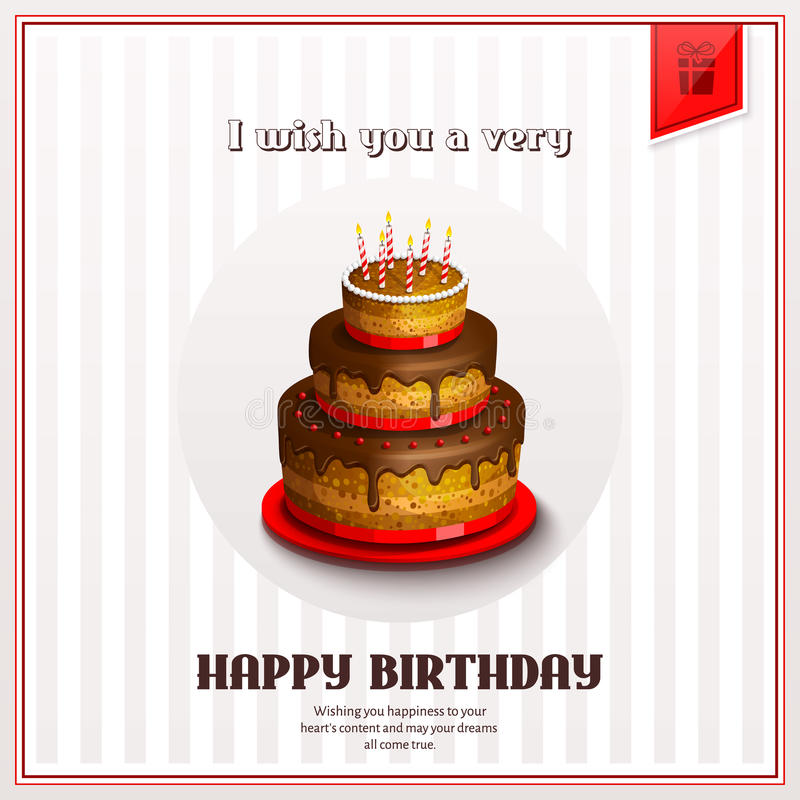 Happy Birthday Greeting Card With Birthday Cake Vector Stock
