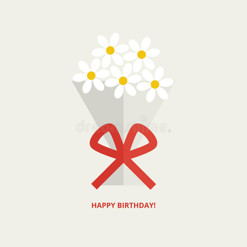 Happy birthday greeting card. With bouquet of flowers tied up with red ribbon in flat style royalty free illustration