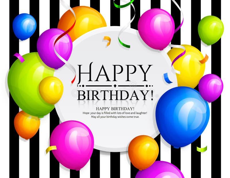 Happy Birthday greeting card. Bunch of balloons. vector illustration
