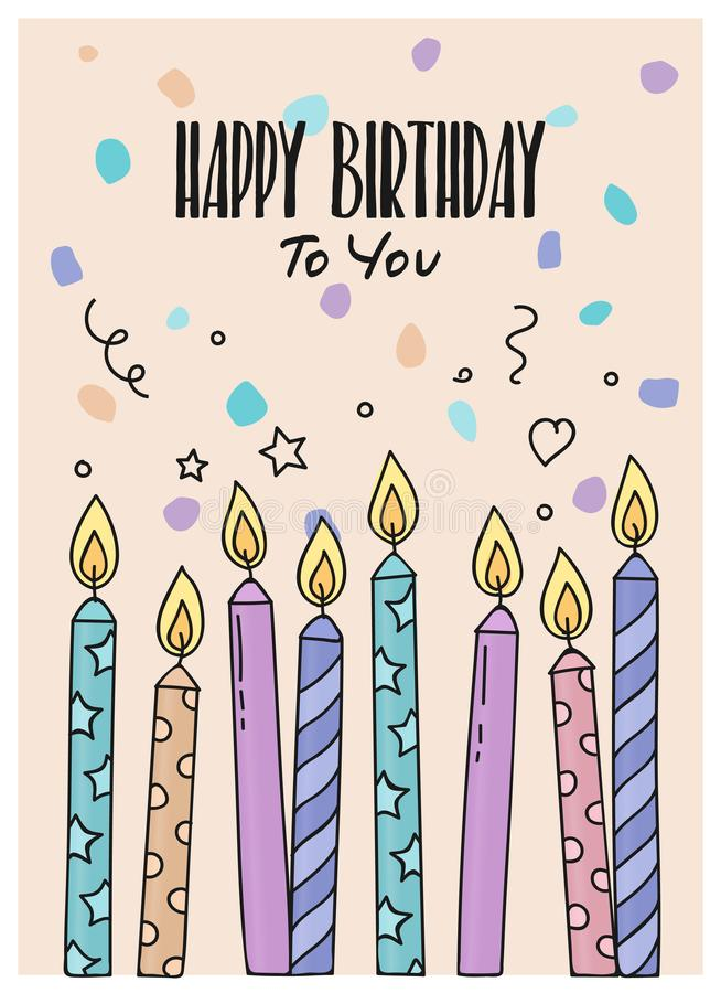 Happy Birthday greeting card with burning candles on dotted background. Vector. royalty free illustration