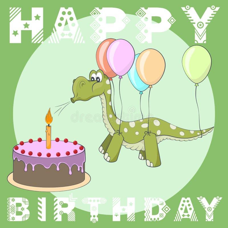 Happy Birthday Greeting Card Cake Balloons Dino Stock