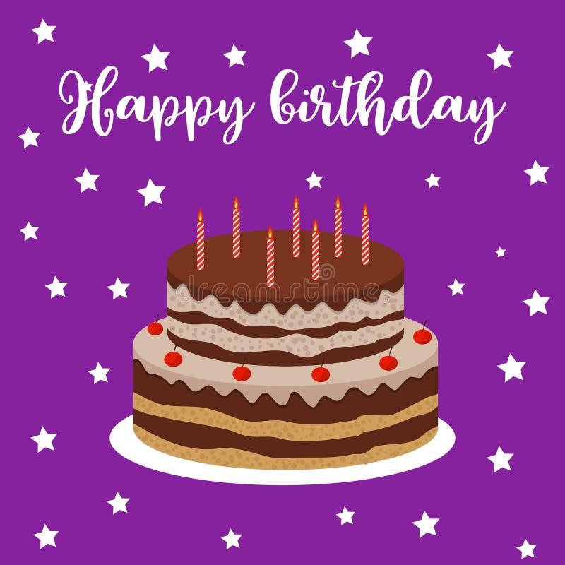 Happy Birthday greeting card with cake. Vector illustration stock illustration