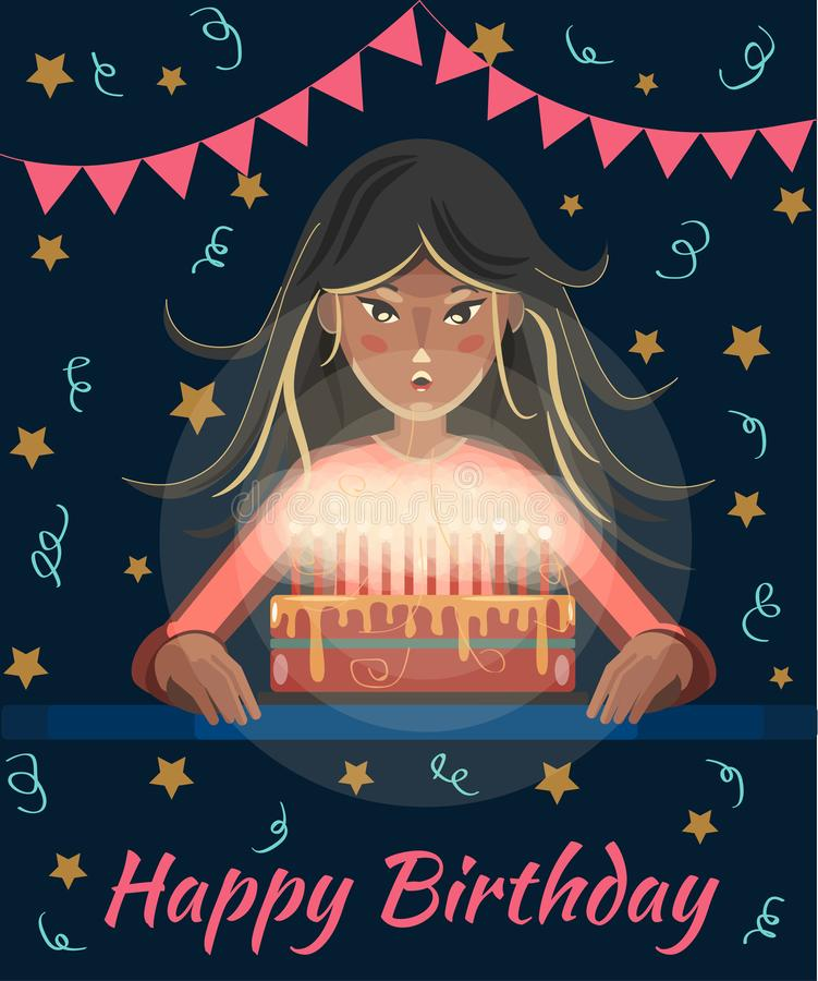 Happy birthday greeting card. Cartoon girl with long hair blows out the candles on the cake. Birthday Party. Text of congratulations vector illustration