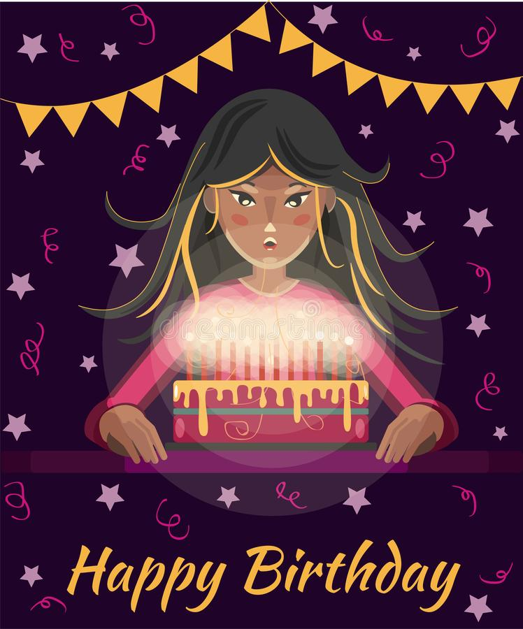 Happy birthday greeting card. Cartoon girl with long hair blows out the candles on the cake vector illustration