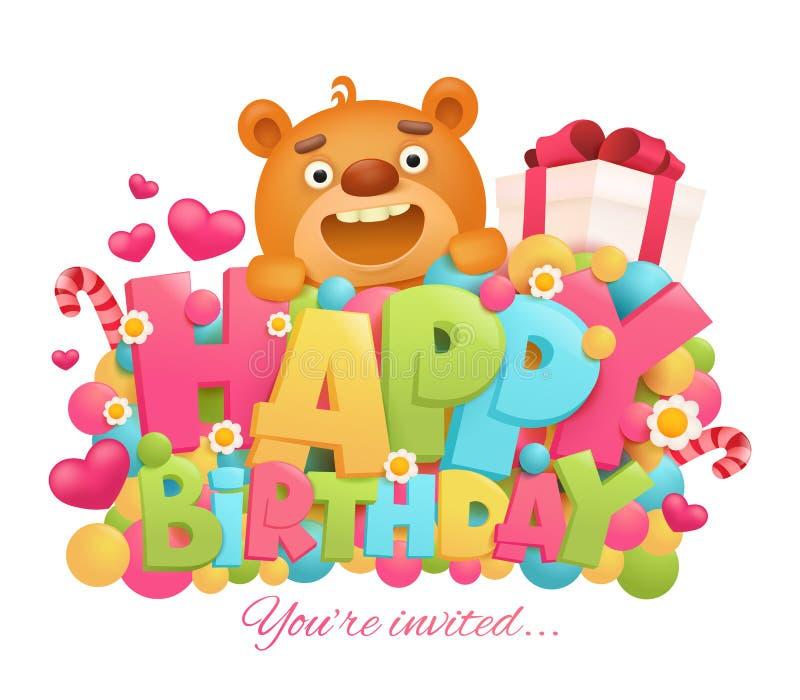 Happy birthday greeting card with cartoon teddy bear character. Vector illustration stock illustration