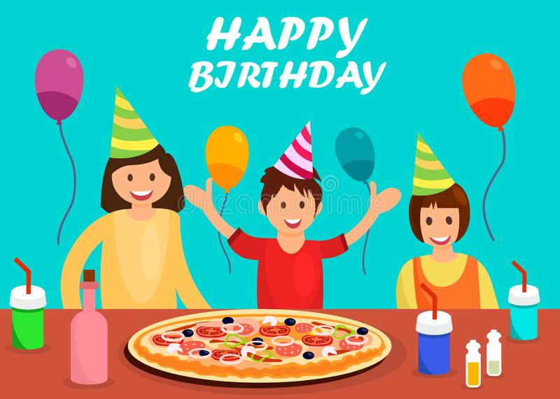 Happy Birthday Greeting Card Cartoon Template. Huge Pepperoni, Margarita Pizza on Plates. B-Day Boy with Friends Wearing Party Hats. Anniversary Celebration royalty free illustration