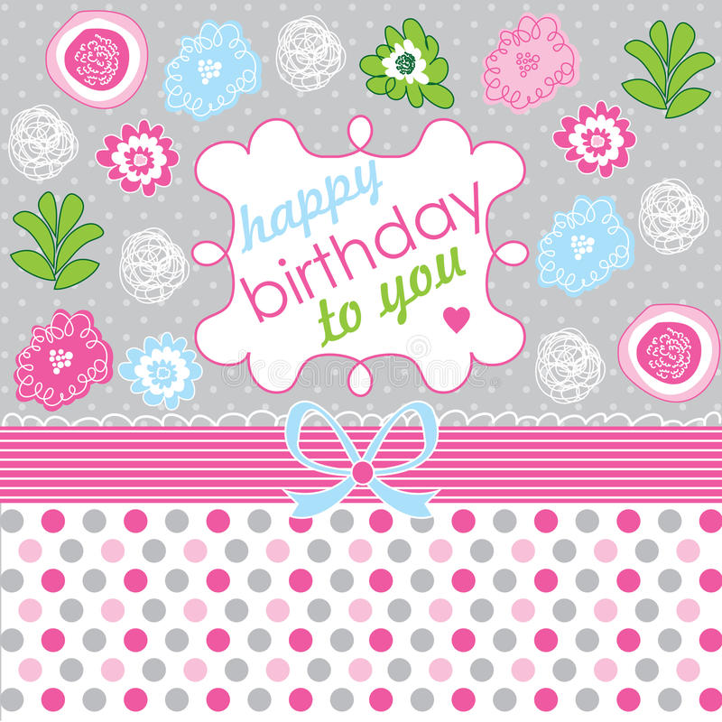 Happy Birthday! Greeting card, celebration backgro. Und with flower vector illustration
