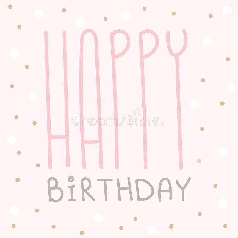 Happy birthday greeting card celebration postcard template royalty free illustration