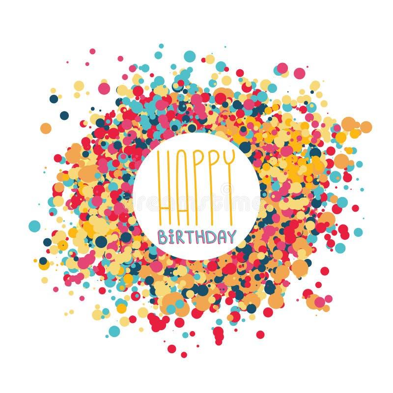 Happy birthday greeting card celebration postcard template vector illustration