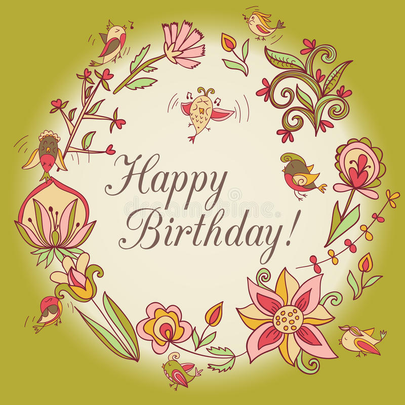 Happy birthday greeting card circle floral frame stock vector download happy birthday greeting card circle floral frame stock vector illustration of flower bookmarktalkfo Gallery