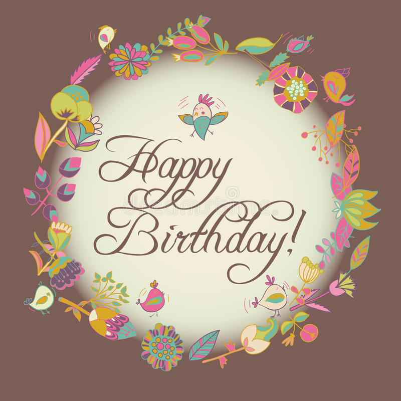 Happy birthday greeting card. circle floral frame. With cute cartoon bird and flower royalty free illustration