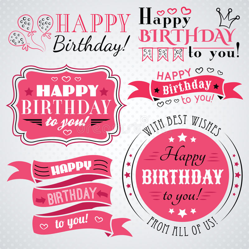 Happy birthday greeting card collection in holiday vector illustration