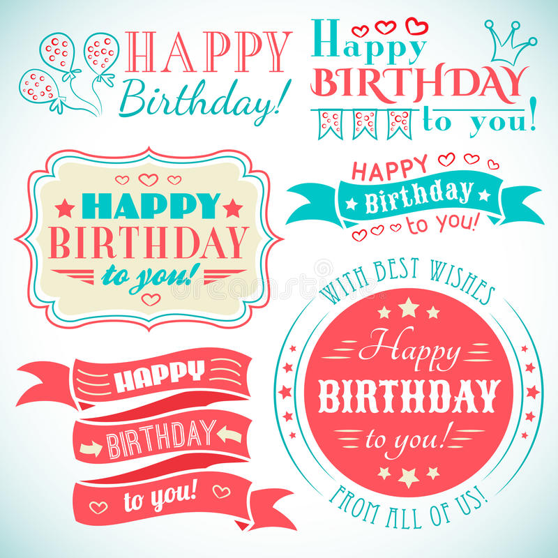 Happy birthday greeting card collection in holiday royalty free illustration