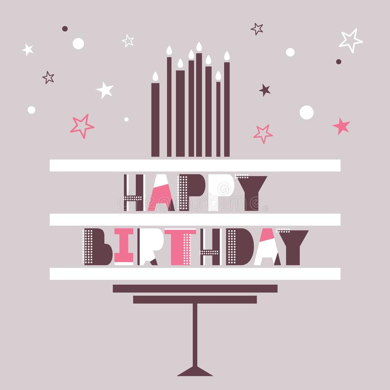 Greeting card with cake, english text, candles, stars. Happy birthday! royalty free illustration