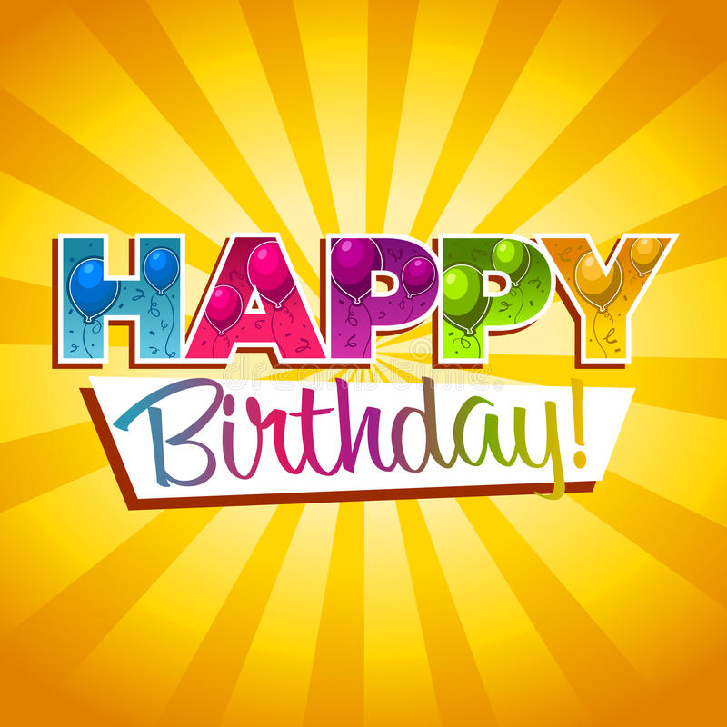 Happy Birthday Greeting Card. Colorful birthday greeting card with balloons and confetti vector illustration
