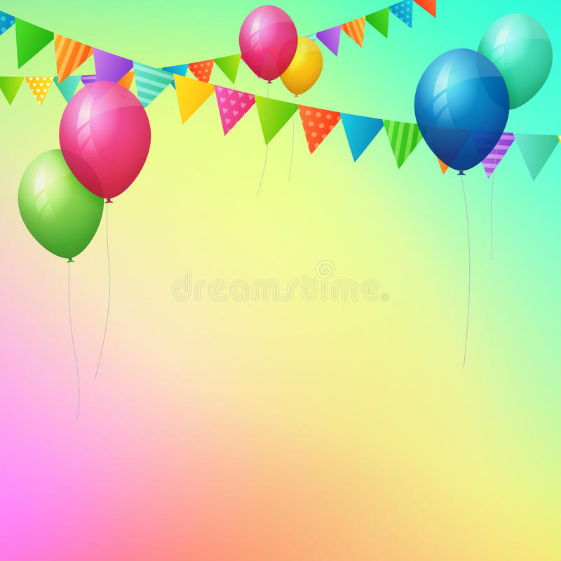 Happy birthday greeting card with colorful balloons and flags. From background royalty free illustration
