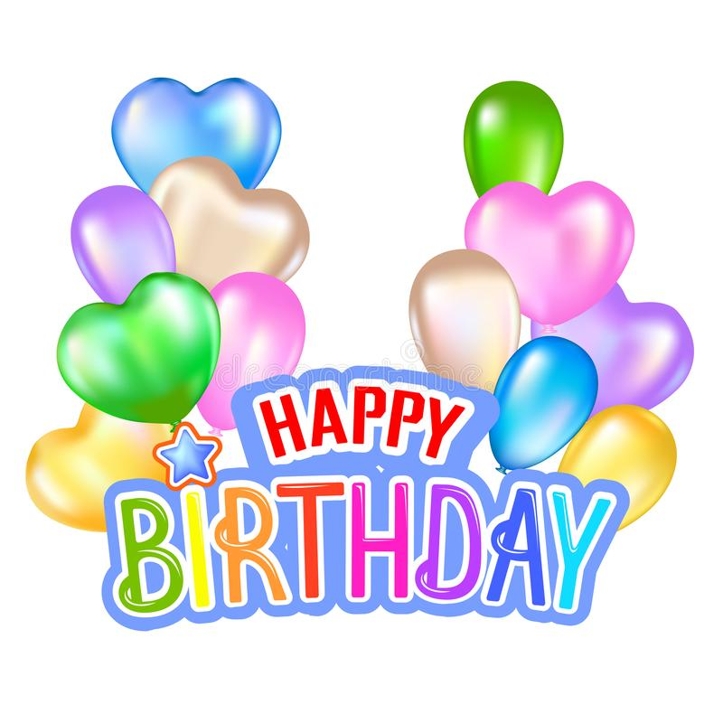 Happy birthday greeting card with colorful design. Vector illustration royalty free illustration