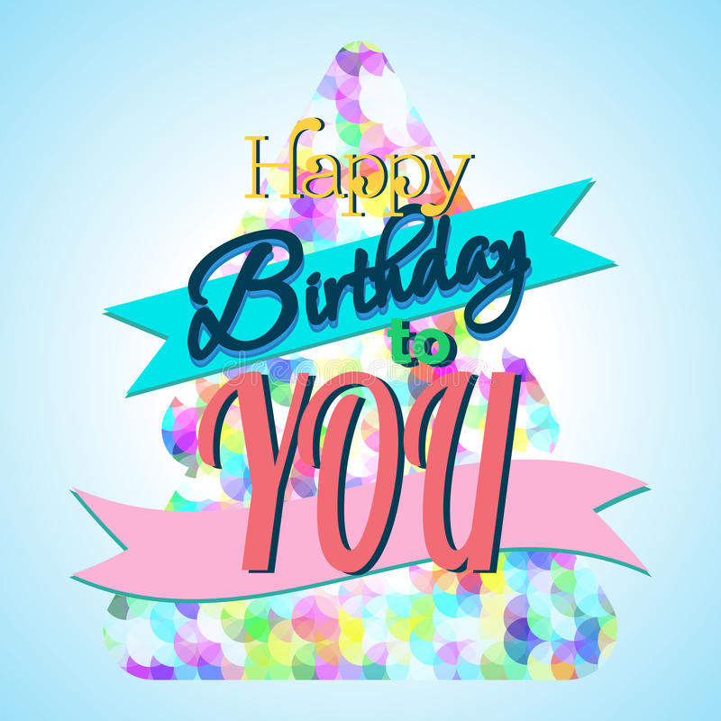 Happy Birthday Greeting Card. Colorful Happy Birthday Greeting Card Design Illustration stock illustration