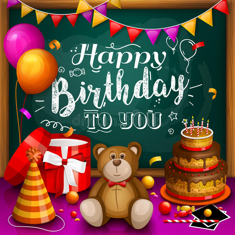 Happy birthday greeting card. Colorful gift box. Lots of presents. Party hat, photo frames, soap bubbles, teddy bear royalty free illustration