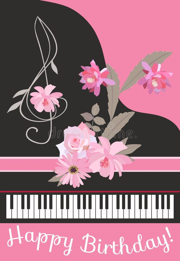 Happy birthday greeting card with concert black grand piano, floral treble clef, pink ribbon and tender bouquet of garden flowers. In vector stock illustration