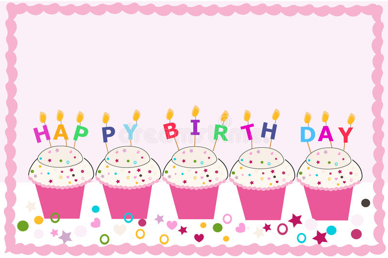 Happy birthday greeting card with cupcakes and candles. Background royalty free illustration