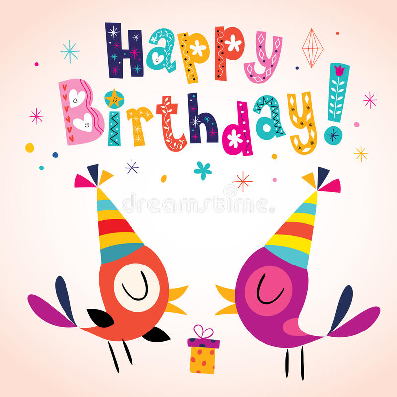 Happy Birthday greeting card. With cute birds stock illustration