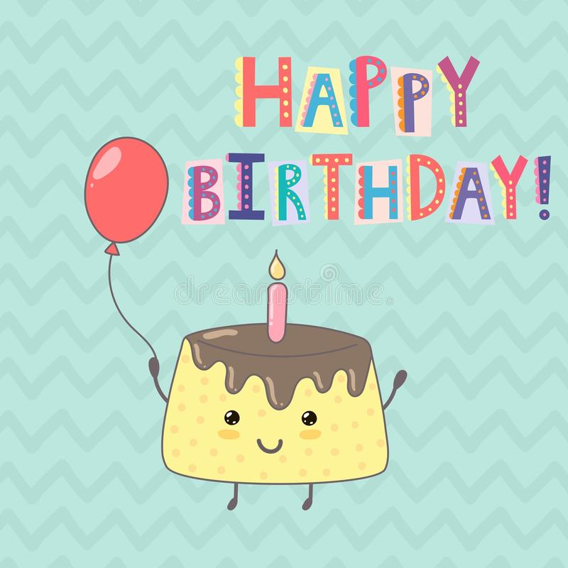 Happy Birthday greeting card with a cute cake royalty free illustration