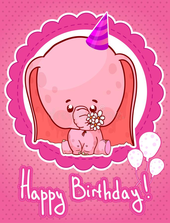 Happy birthday greeting card with cute cartoon elephant stock illustration
